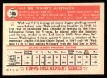 1952 Topps REPRINT #186  Walt Masterson  Back Thumbnail