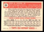 1952 Topps REPRINT #306  Lou Sleater  Back Thumbnail