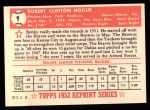 1952 Topps REPRINT #9  Robert Hogue  Back Thumbnail