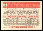 1952 Topps REPRINT #87  Dale Coogan  Back Thumbnail