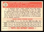 1952 Topps REPRINT #119  Mickey McDermott  Back Thumbnail