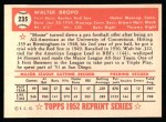 1952 Topps REPRINT #235  Walt Dropo  Back Thumbnail