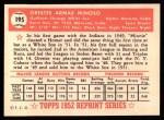 1952 Topps Reprints #195  Minnie Minoso  Back Thumbnail