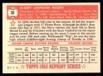1952 Topps REPRINT #10  Al Rosen  Back Thumbnail