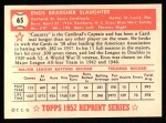 1952 Topps REPRINT #65  Enos Slaughter  Back Thumbnail
