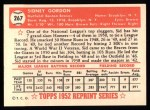 1952 Topps REPRINT #267  Sid Gordon  Back Thumbnail