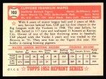 1952 Topps REPRINT #103  Cliff Mapes  Back Thumbnail