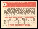 1952 Topps REPRINT #84  Vern Stephens  Back Thumbnail