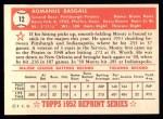 1952 Topps REPRINT #12  Monty Basgall  Back Thumbnail
