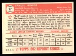 1952 Topps REPRINT #27  Sam Jethroe  Back Thumbnail