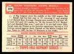 1952 Topps Reprints #274  Ralph Branca  Back Thumbnail