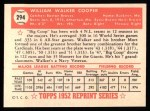 1952 Topps REPRINT #294  Walker Cooper  Back Thumbnail
