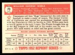 1952 Topps Reprints #73  Bill Werle  Back Thumbnail