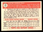 1952 Topps REPRINT #151  Wally Post  Back Thumbnail