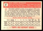 1952 Topps REPRINT #67  Allie Reynolds  Back Thumbnail