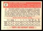 1952 Topps Reprints #67  Allie Reynolds  Back Thumbnail