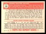 1952 Topps REPRINT #145  Joe Haynes  Back Thumbnail