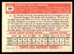 1952 Topps REPRINT #297  Andy Seminick  Back Thumbnail