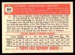1952 Topps REPRINT #302  Max Surkont  Back Thumbnail