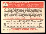 1952 Topps REPRINT #75  Wes Westrum  Back Thumbnail