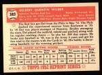 1952 Topps REPRINT #383  Del Wilber  Back Thumbnail