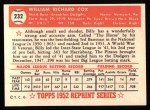 1952 Topps REPRINT #232  Billy Cox  Back Thumbnail