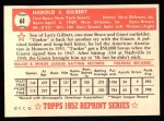 1952 Topps REPRINT #61  Tookie Gilbert  Back Thumbnail