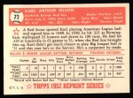 1952 Topps REPRINT #72  Karl Olson  Back Thumbnail
