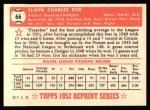 1952 Topps REPRINT #66  Preacher Roe  Back Thumbnail