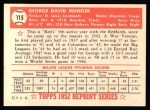 1952 Topps REPRINT #115  George Munger  Back Thumbnail