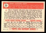 1952 Topps REPRINT #214  Johnny Hopp  Back Thumbnail
