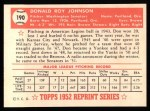 1952 Topps REPRINT #190  Don Johnson  Back Thumbnail