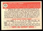 1952 Topps REPRINT #373  Jim Turner  Back Thumbnail