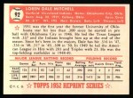 1952 Topps REPRINT #92  Dale Mitchell  Back Thumbnail