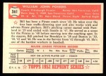 1952 Topps REPRINT #361  William Posedel  Back Thumbnail