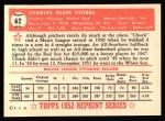 1952 Topps REPRINT #62  Chuck Stobbs  Back Thumbnail