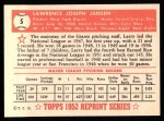 1952 Topps REPRINT #5  Larry Jansen  Back Thumbnail