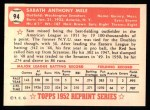 1952 Topps REPRINT #94  Sam Mele  Back Thumbnail