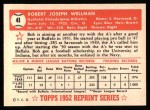 1952 Topps Reprints #41  Bob Wellman  Back Thumbnail