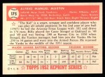 1952 Topps REPRINT #175  Billy Martin  Back Thumbnail