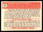 1952 Topps REPRINT #317  Conrado Marrero  Back Thumbnail