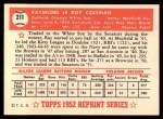 1952 Topps REPRINT #211  Ray Coleman  Back Thumbnail