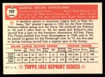 1952 Topps REPRINT #197  George Strickland  Back Thumbnail