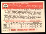 1952 Topps REPRINT #224  Bruce Edwards  Back Thumbnail