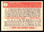 1952 Topps REPRINT #1  Andy Pafko  Back Thumbnail