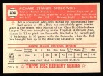 1952 Topps REPRINT #404  Dick Brodowski  Back Thumbnail