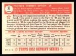 1952 Topps Reprints #71  Tom Upton  Back Thumbnail