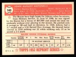 1952 Topps Reprints #140  Johnny Antonelli  Back Thumbnail