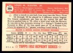 1952 Topps Reprints #306  Lou Sleater  Back Thumbnail