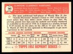 1952 Topps REPRINT #141  Clint Hartung  Back Thumbnail